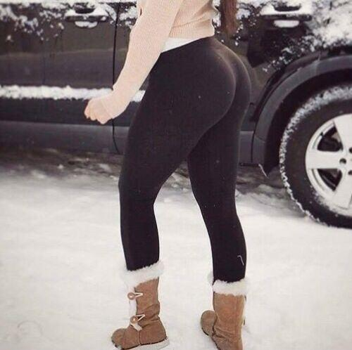 Reviewer's picture of her wearing the Thinsulate Fleece Leggings outside in the snow